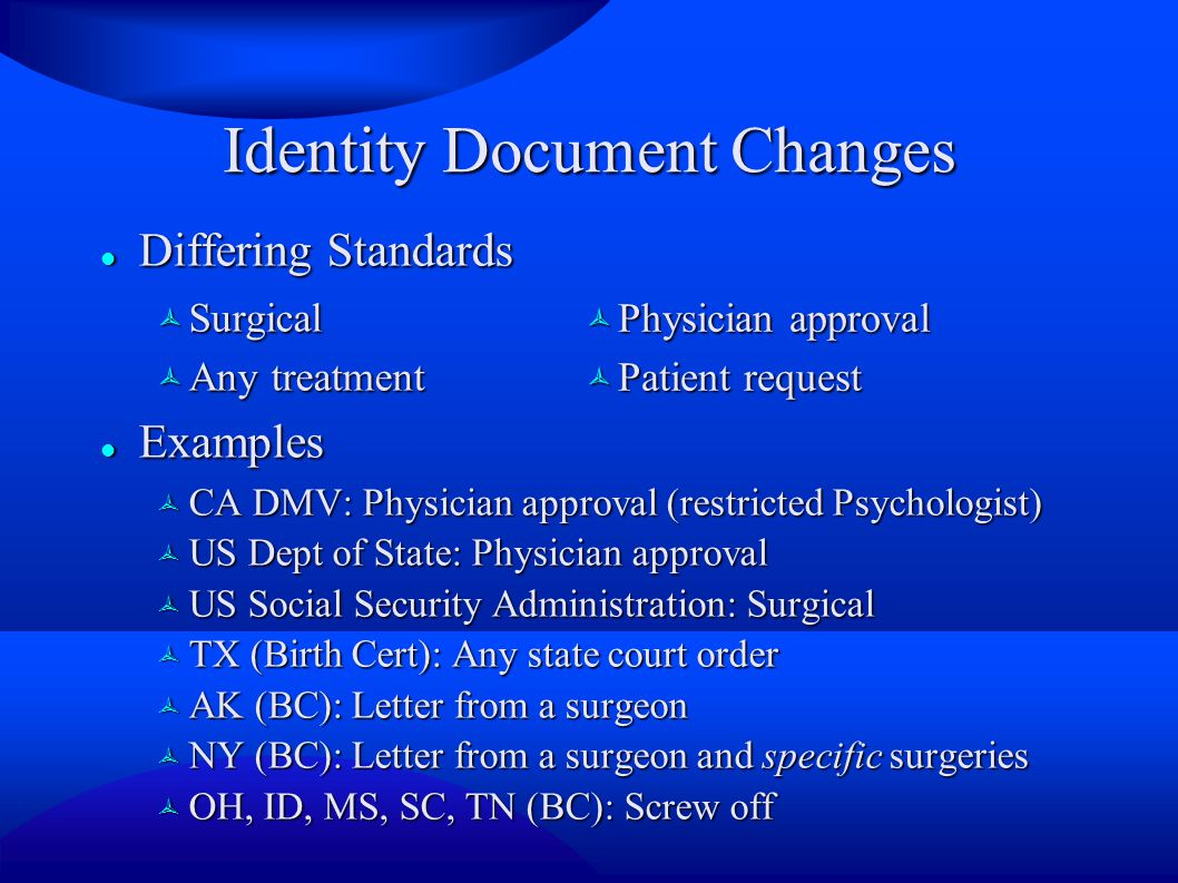 Identity Document Changes