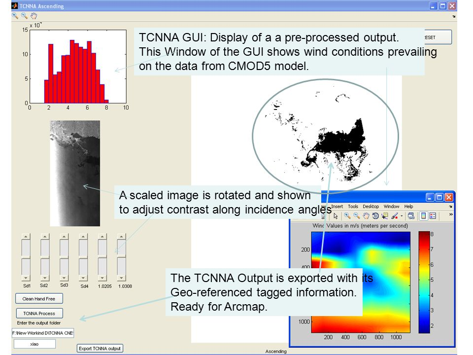TCNNA GUI: Display of a a pre-processed output.