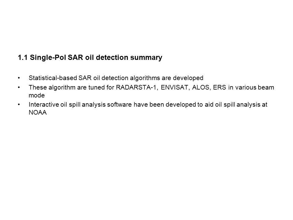 1.1 Single-Pol SAR oil detection summary