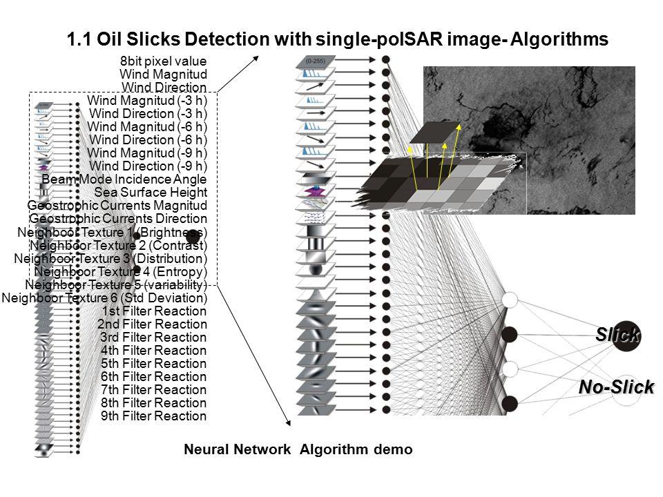 1.1 Oil Slicks Detection with single-polSAR image- Algorithms