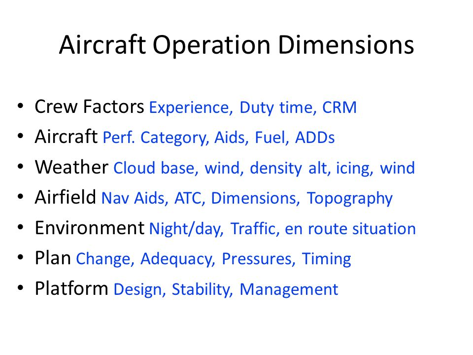 Aircraft Operation Dimensions