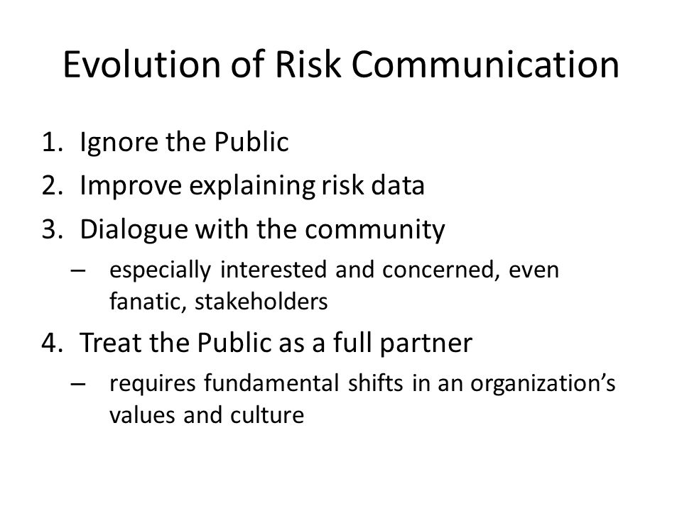Evolution of Risk Communication