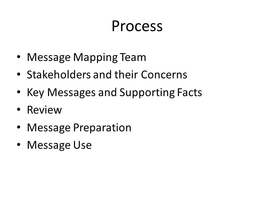 Process Message Mapping Team Stakeholders and their Concerns