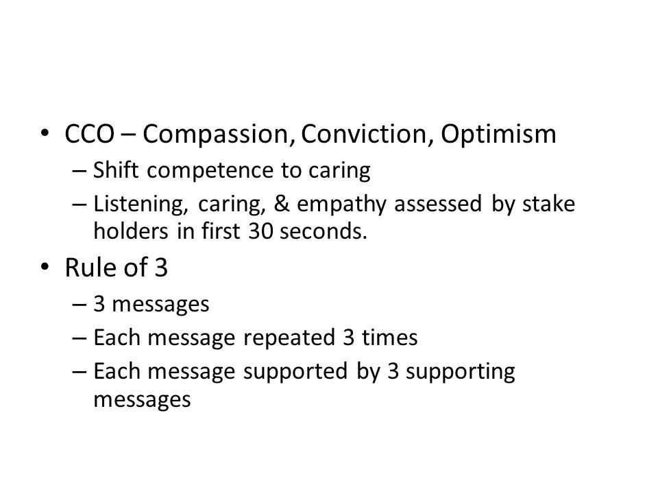 CCO – Compassion, Conviction, Optimism