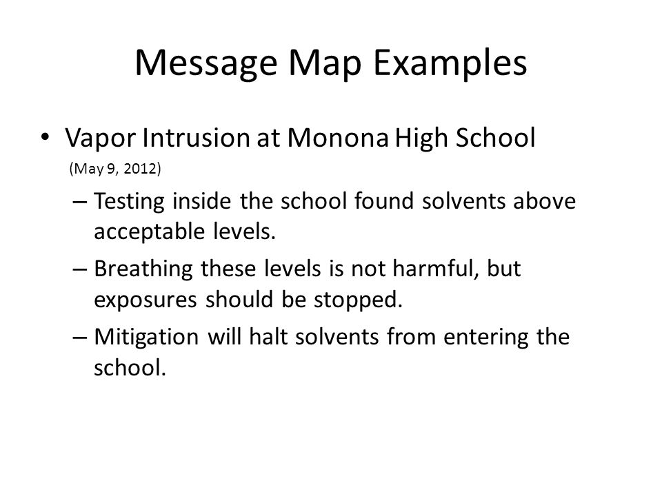 Message Map Examples Vapor Intrusion at Monona High School