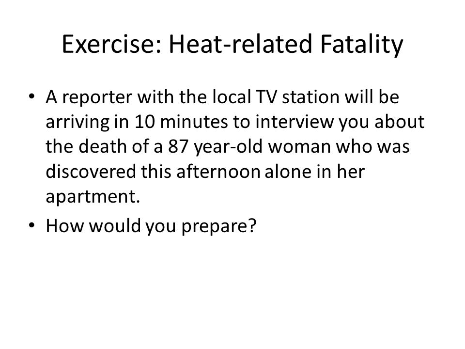 Exercise: Heat-related Fatality