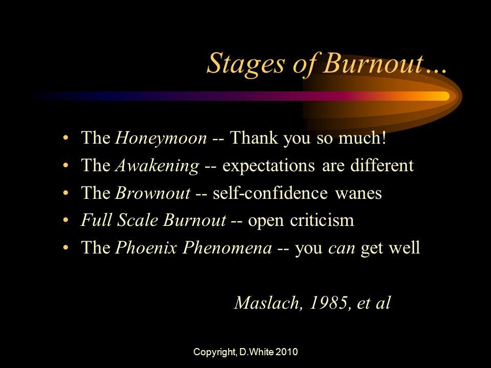 Stages of Burnout… The Honeymoon -- Thank you so much!