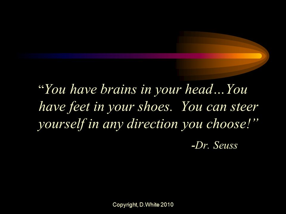 You have brains in your head…You have feet in your shoes