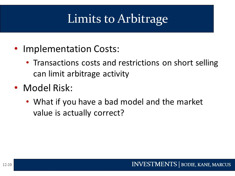 Limits to Arbitrage Implementation Costs: Model Risk: