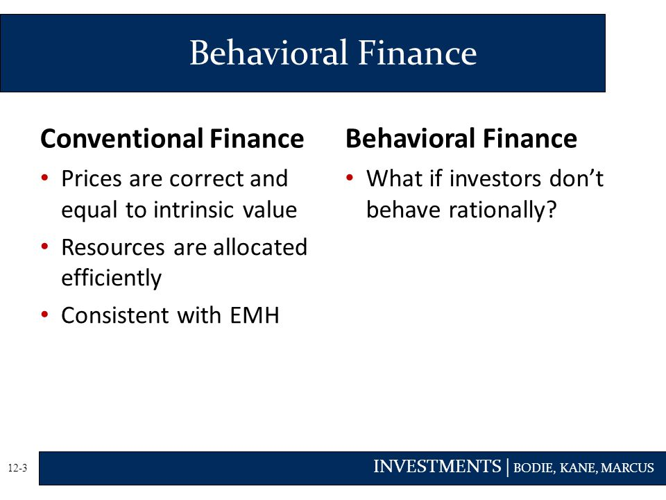 Behavioral Finance Conventional Finance Behavioral Finance