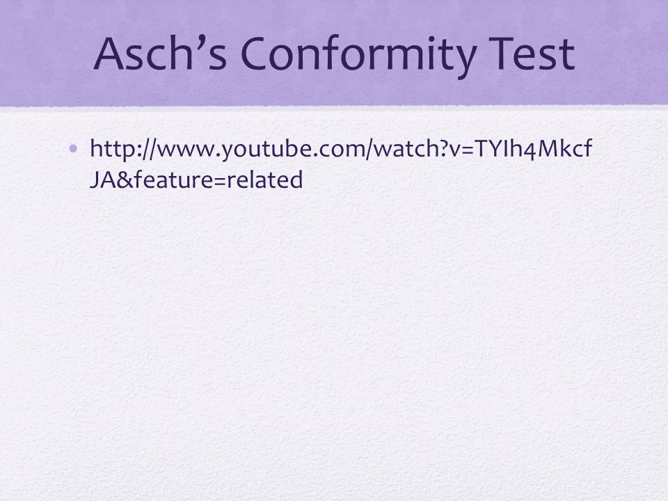 Asch's Conformity Test