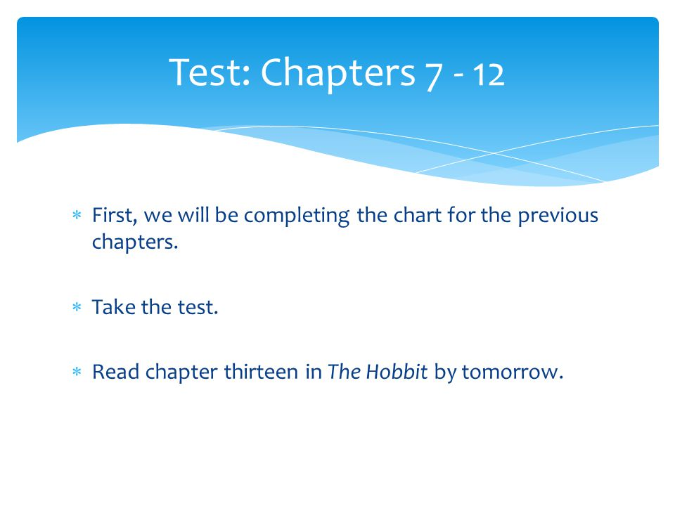 Test: Chapters 7 - 12 First, we will be completing the chart for the previous chapters. Take the test.