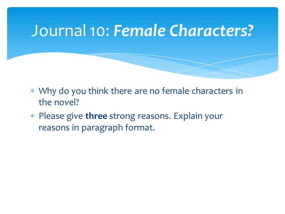 Journal 10: Female Characters
