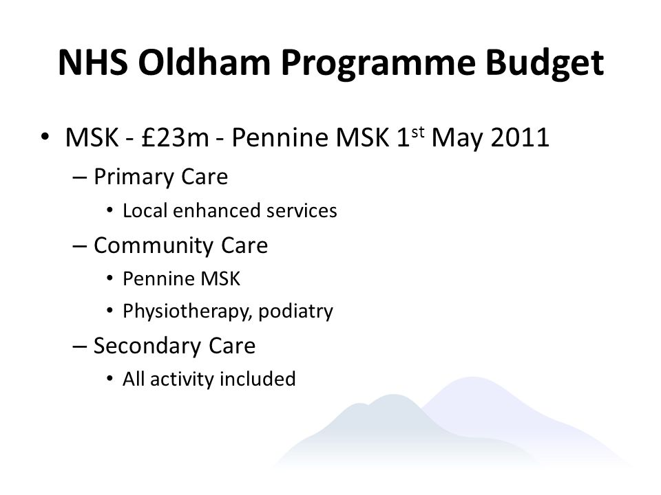 NHS Oldham Programme Budget