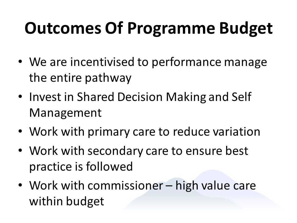 Outcomes Of Programme Budget