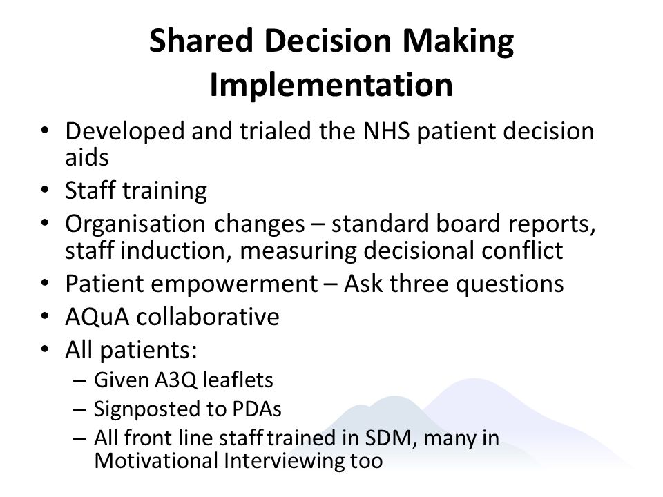 Shared Decision Making Implementation