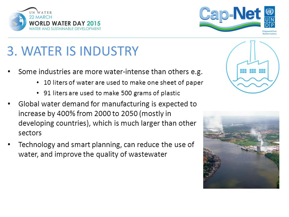 3. WATER IS INDUSTRY Some industries are more water-intense than others e.g. 10 liters of water are used to make one sheet of paper.