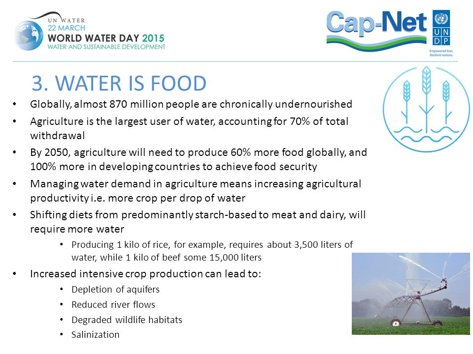 3. WATER IS FOOD Globally, almost 870 million people are chronically undernourished.