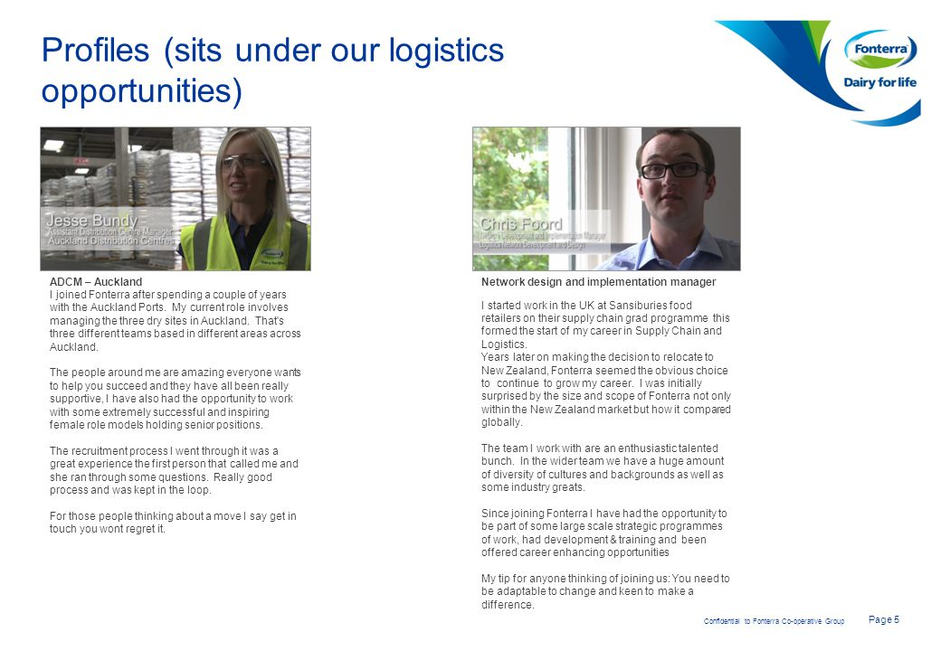 Profiles (sits under our logistics opportunities)