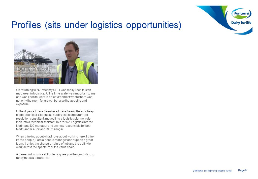 Profiles (sits under logistics opportunities)