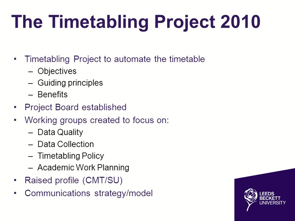 The Timetabling Project 2010