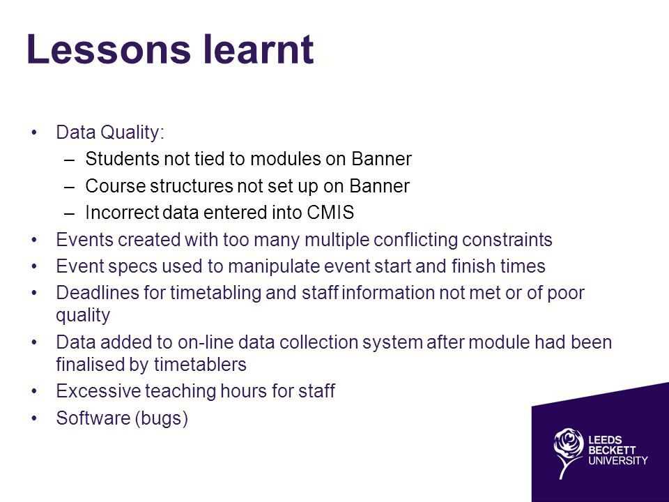 Lessons learnt Data Quality: Students not tied to modules on Banner
