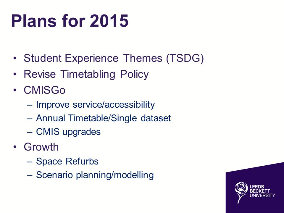 Plans for 2015 Student Experience Themes (TSDG)