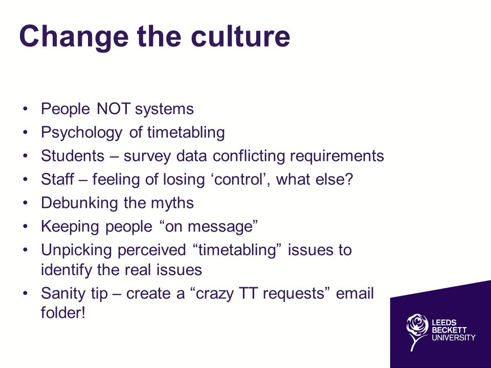 Change the culture People NOT systems Psychology of timetabling