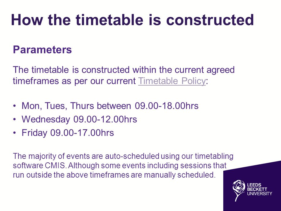 How the timetable is constructed