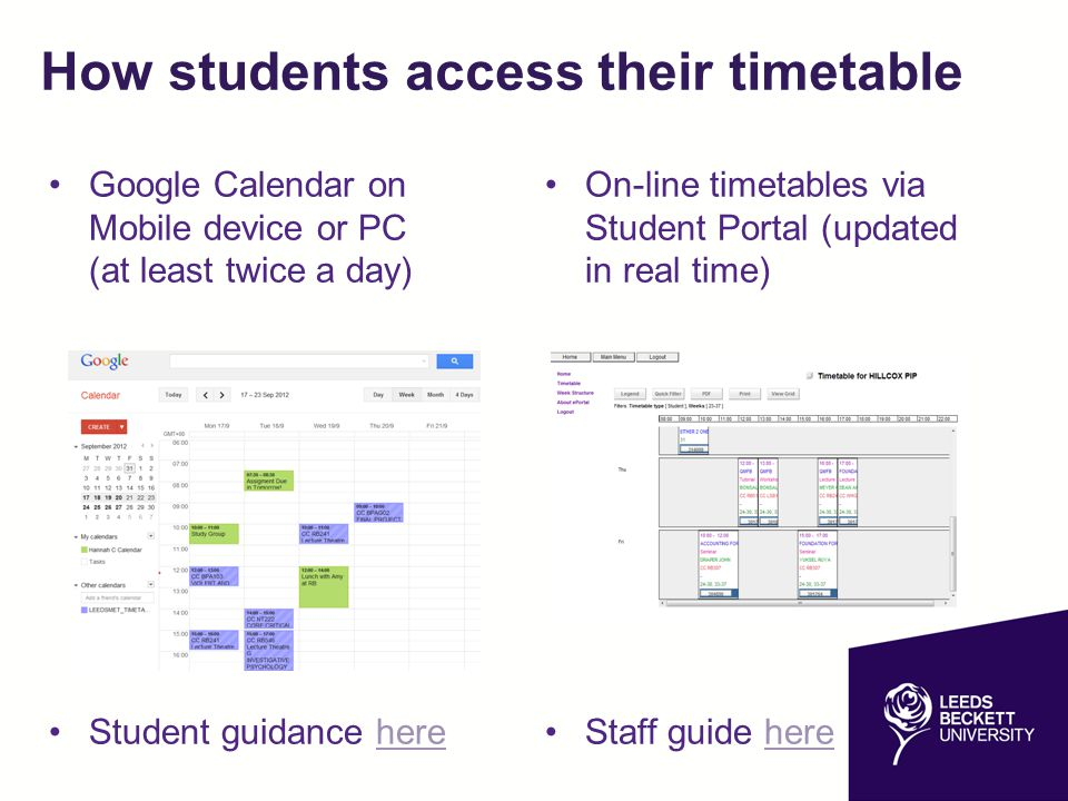 How students access their timetable