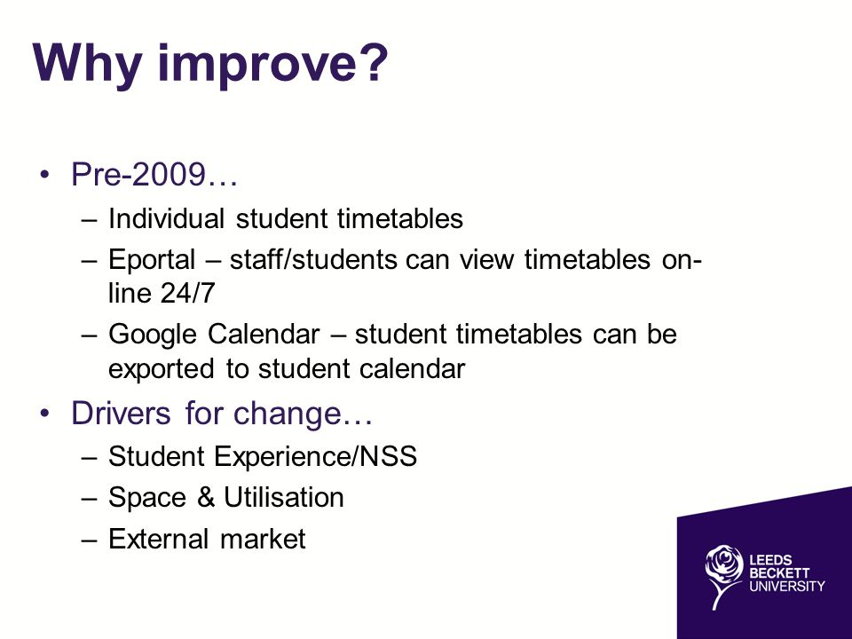 Why improve Pre-2009… Drivers for change…