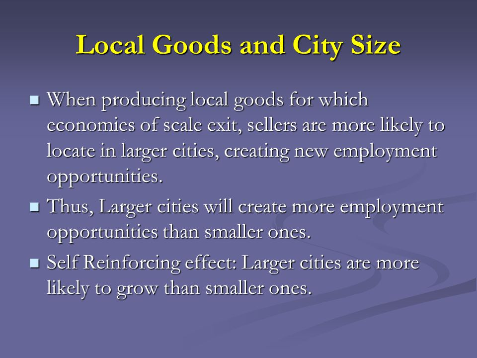 Local Goods and City Size