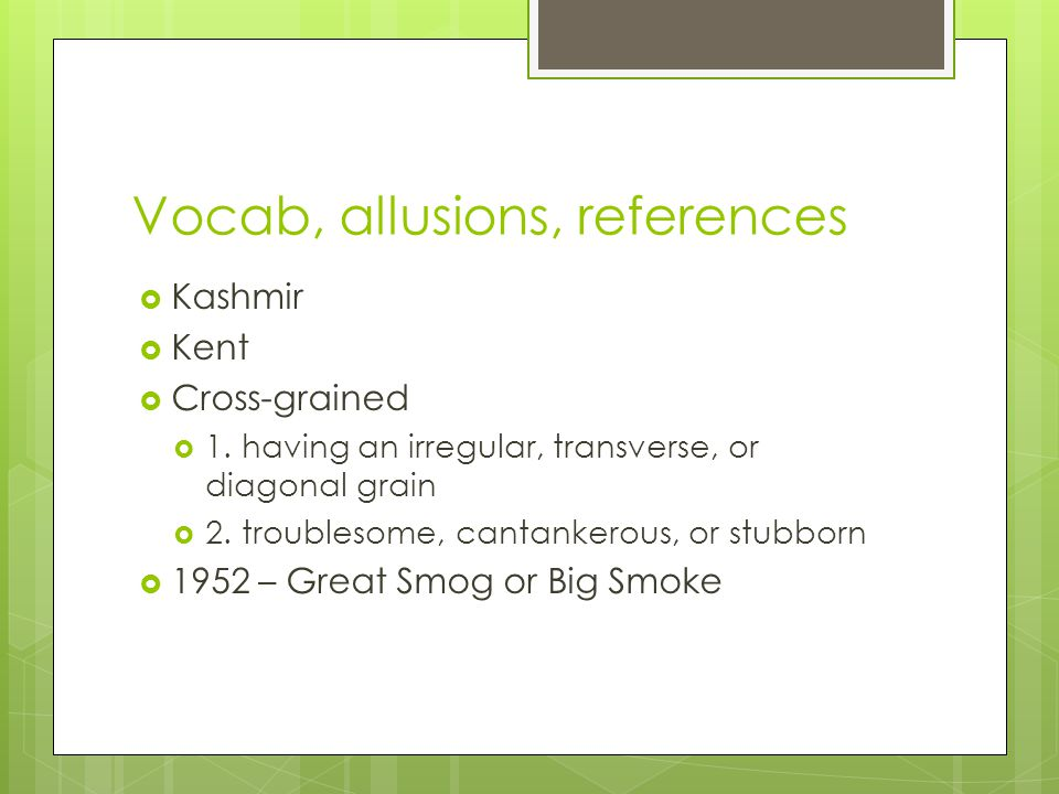 Vocab, allusions, references