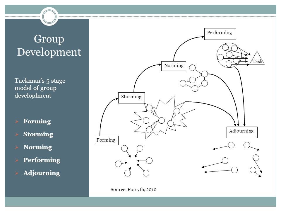 Group Development Tuckman's 5 stage model of group developlment