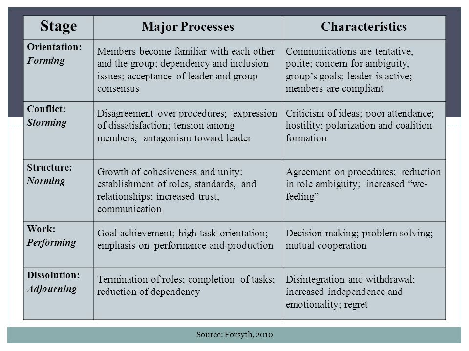 Stage Major Processes Characteristics Orientation: Forming