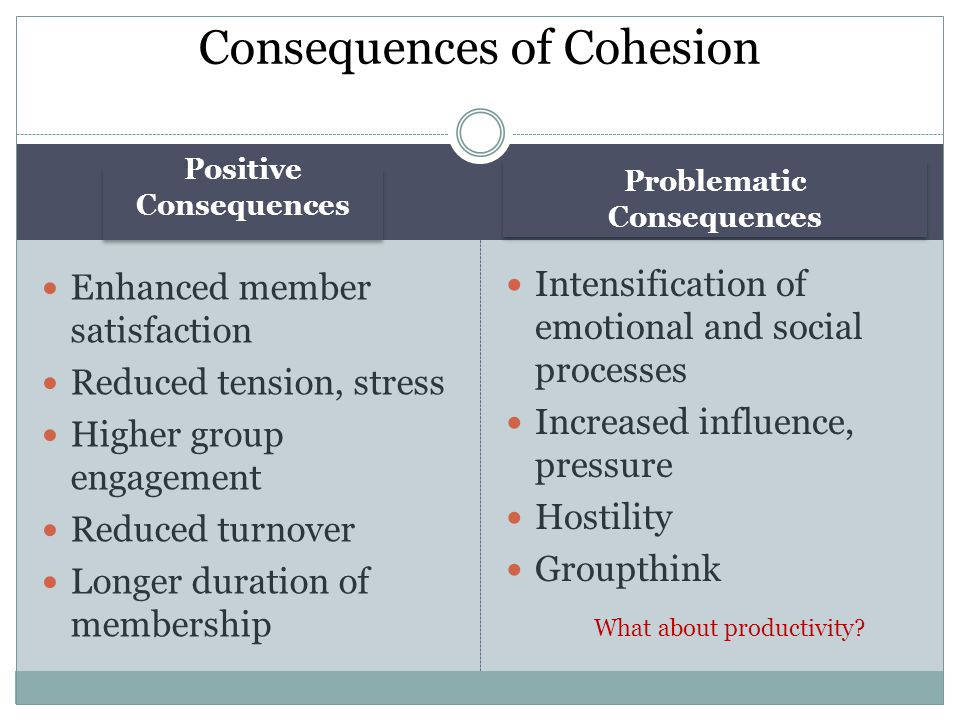 Consequences of Cohesion
