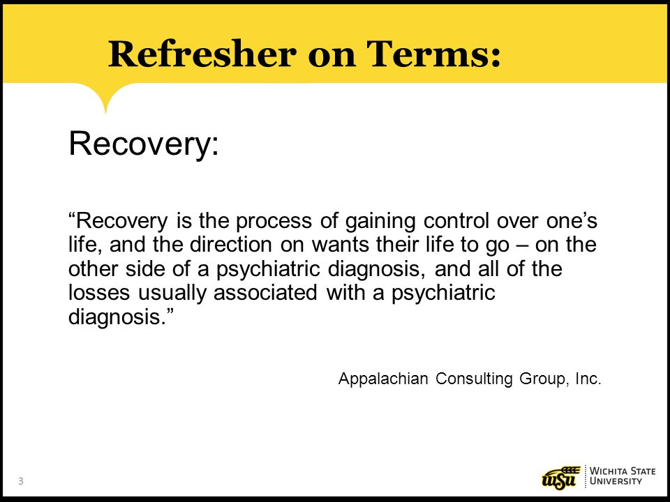 Refresher on Terms: Recovery: