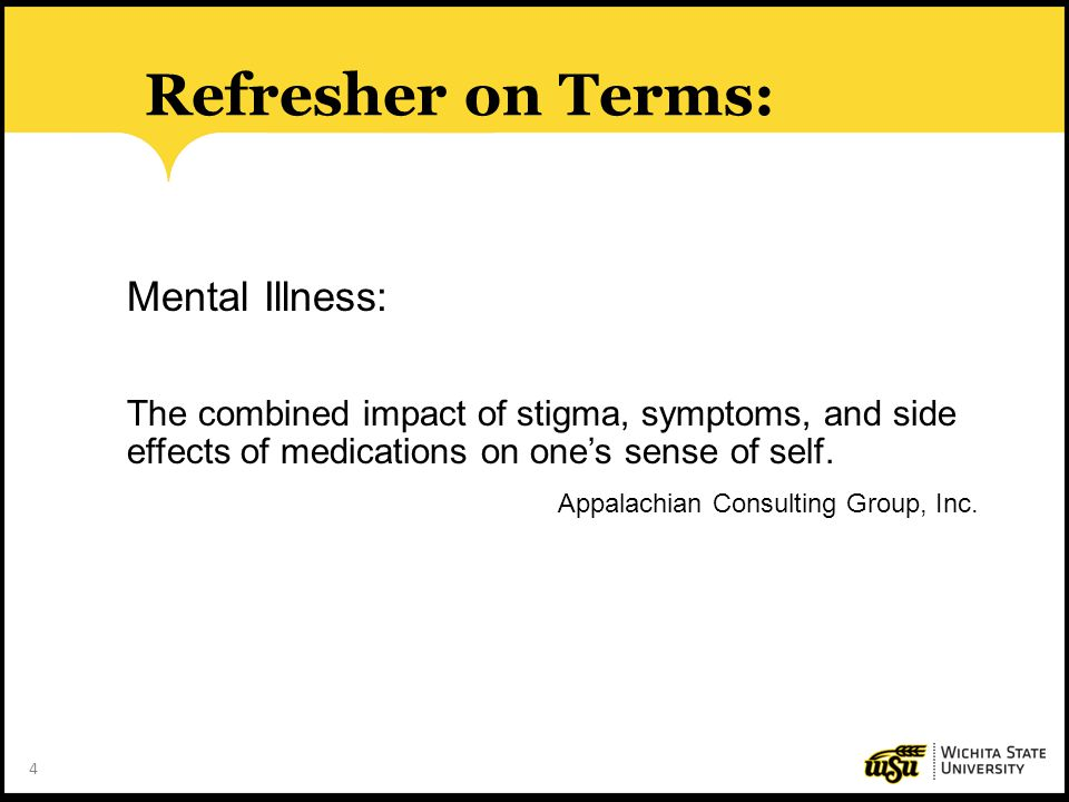 Refresher on Terms: Mental Illness: