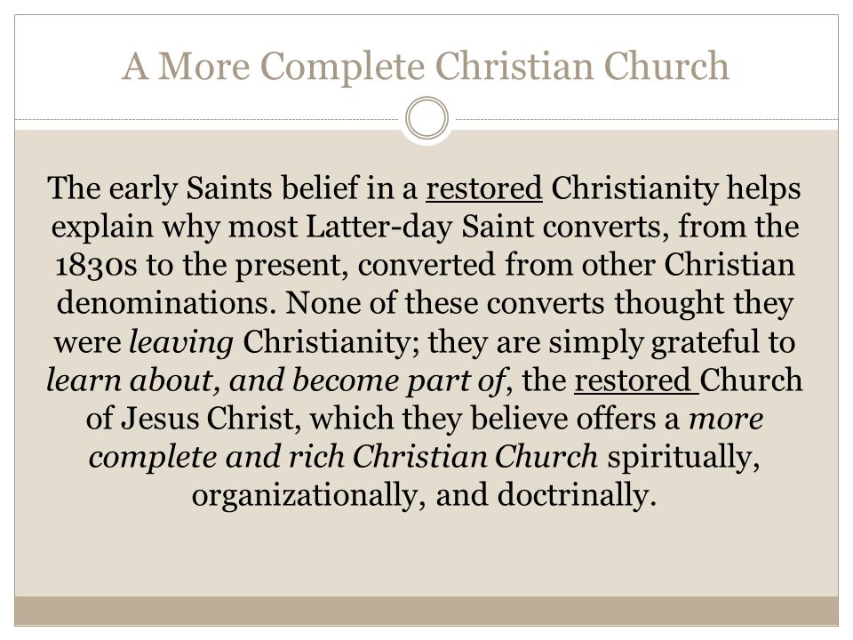 A More Complete Christian Church