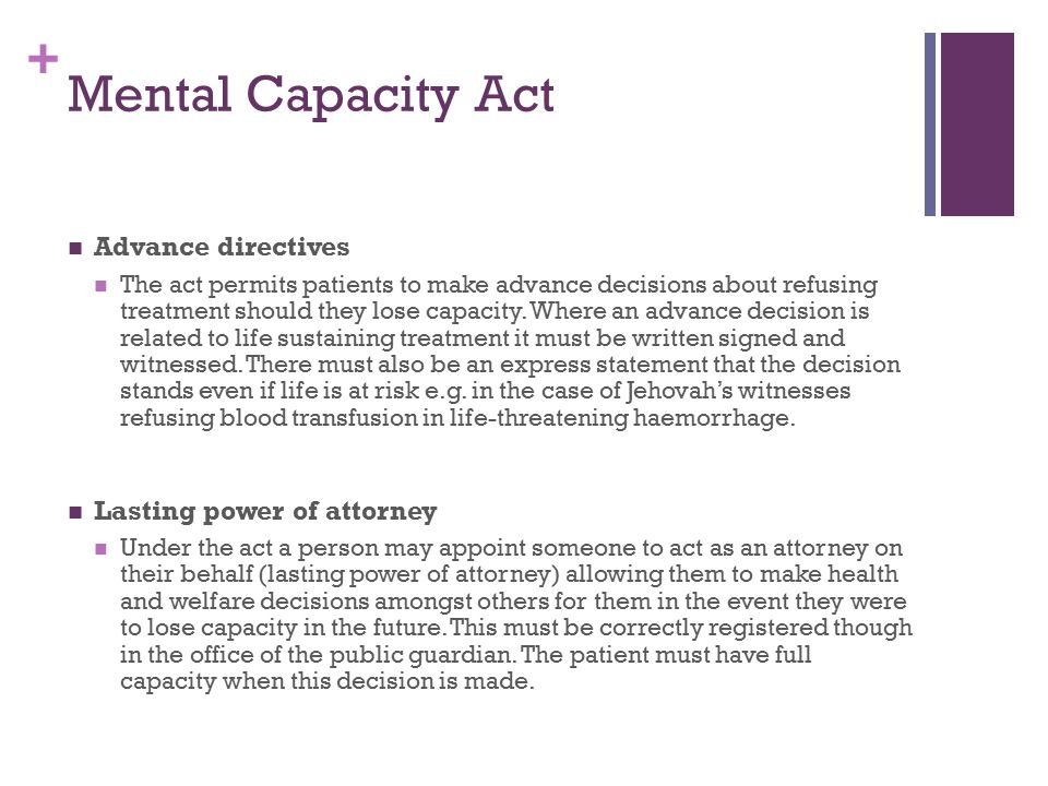 Mental Capacity Act Advance directives Lasting power of attorney