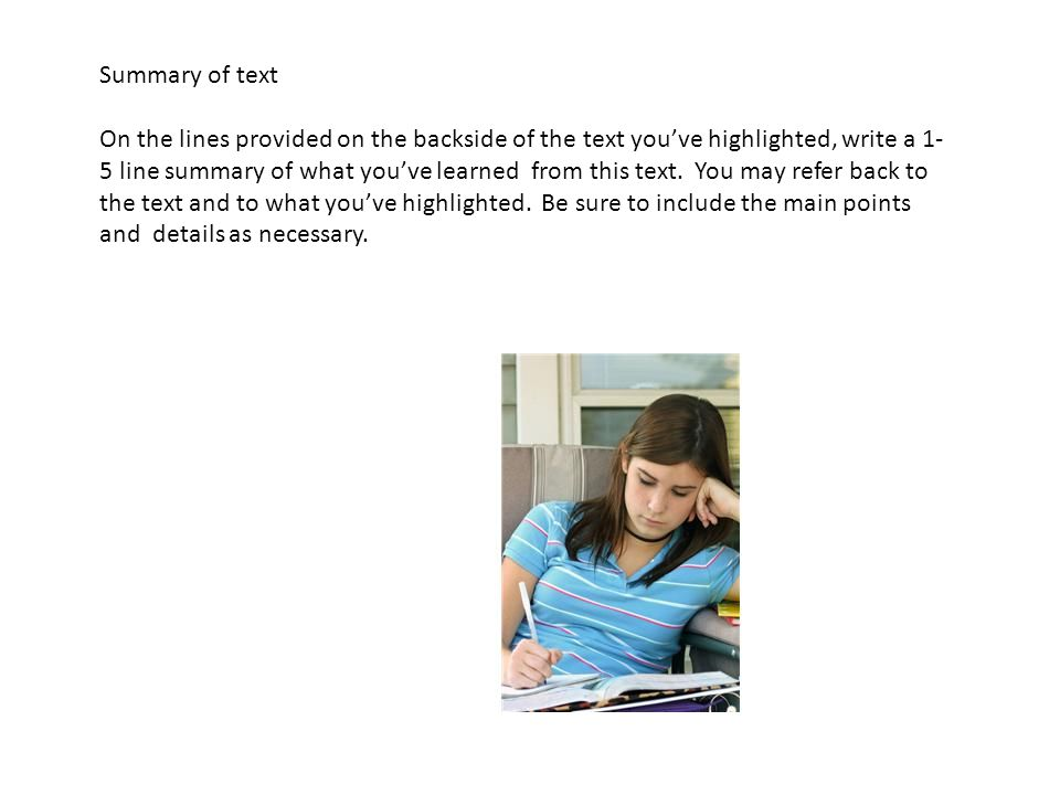 Summary of text