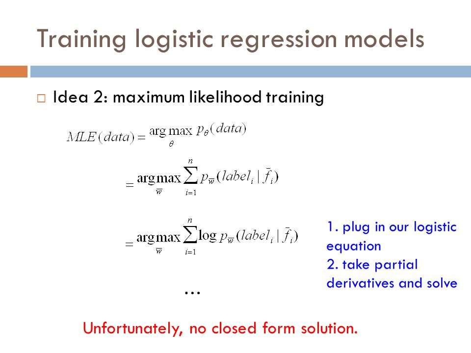 Training logistic regression models