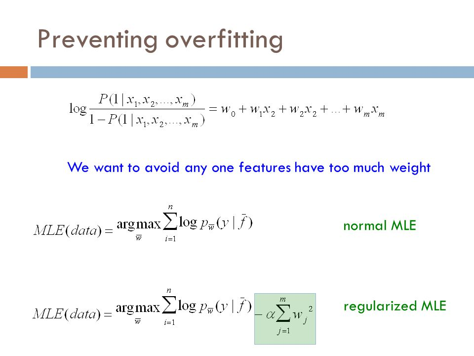Preventing overfitting