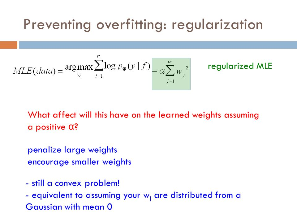 Preventing overfitting: regularization