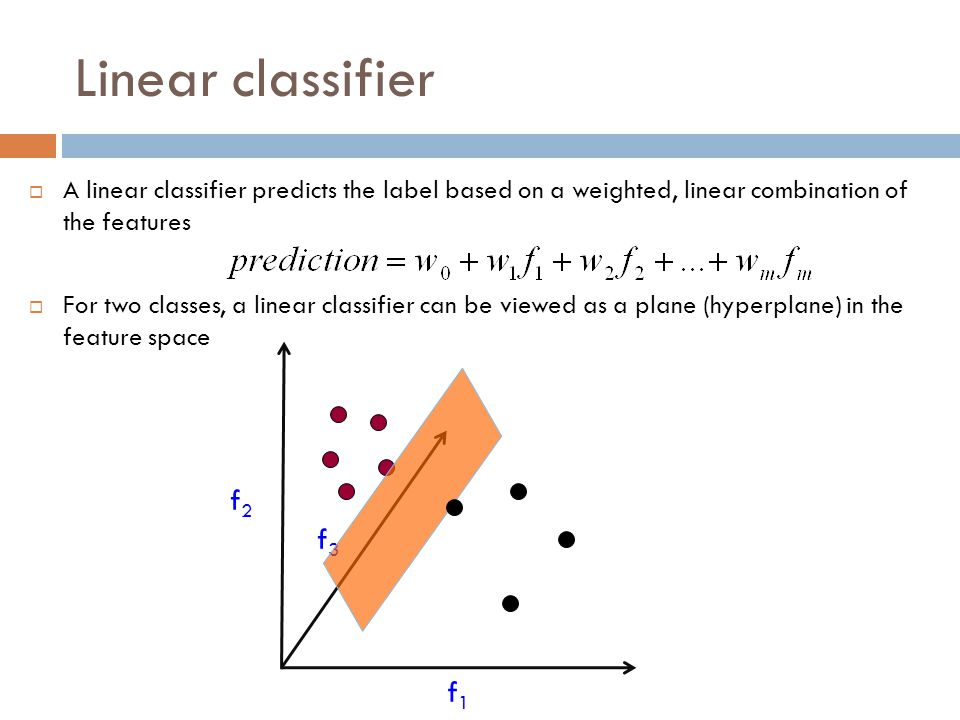 Linear classifier A linear classifier predicts the label based on a weighted, linear combination of the features.