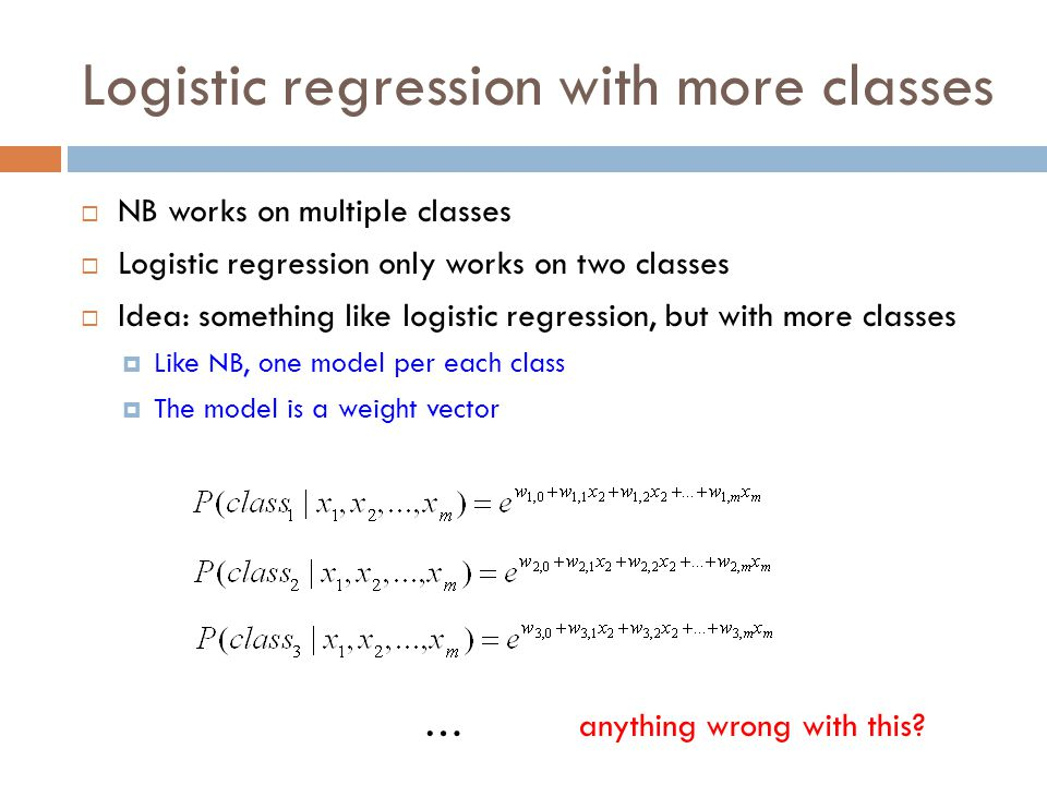 Logistic regression with more classes