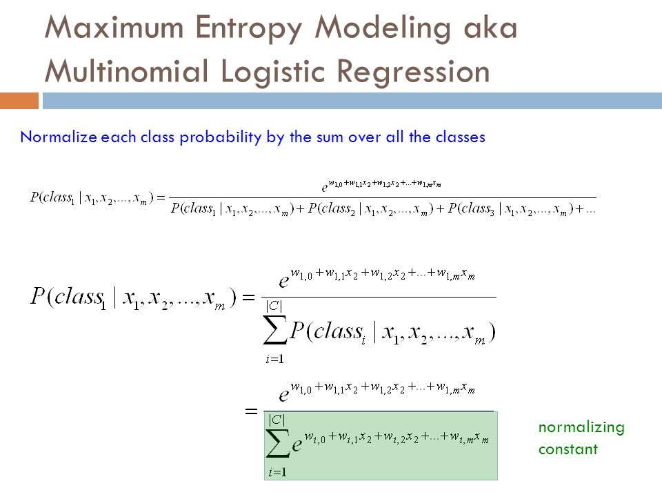 Maximum Entropy Modeling aka Multinomial Logistic Regression