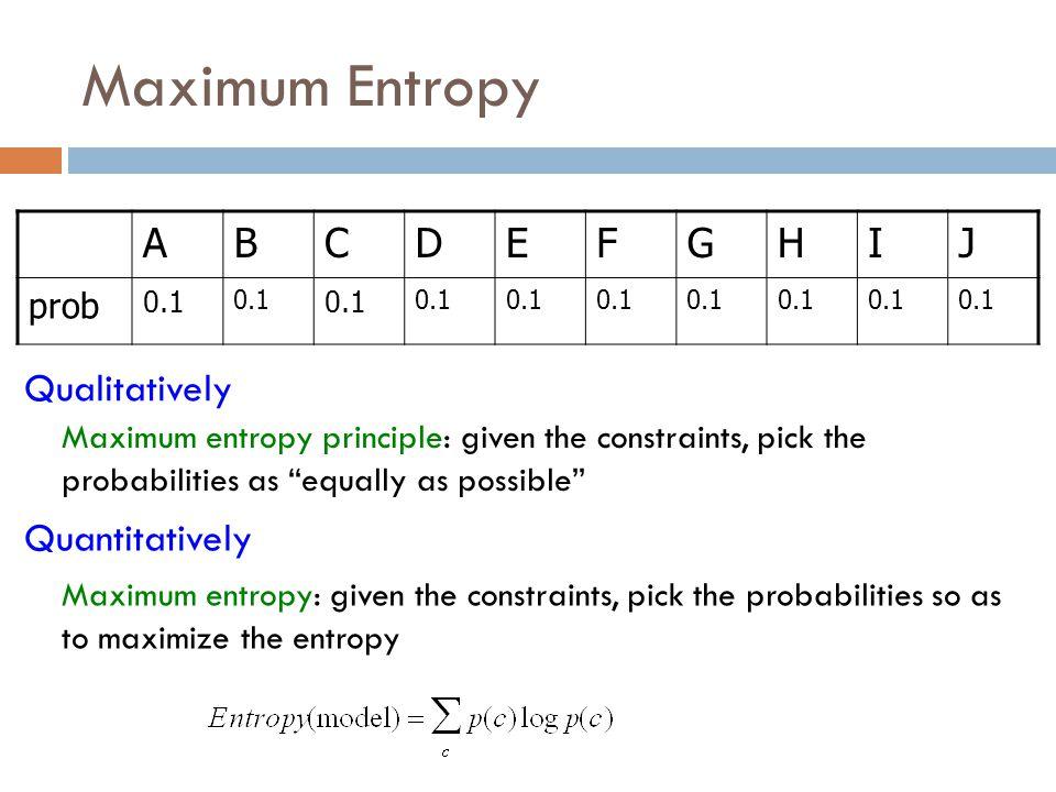 Maximum Entropy A B C D E F G H I J Qualitatively Quantitatively prob