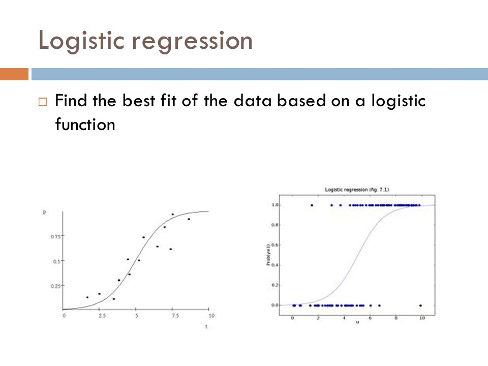 Logistic regression Find the best fit of the data based on a logistic function