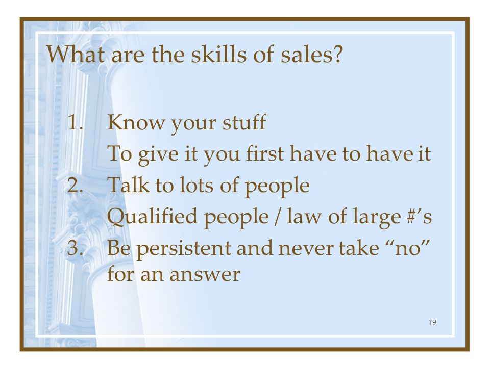 What are the skills of sales